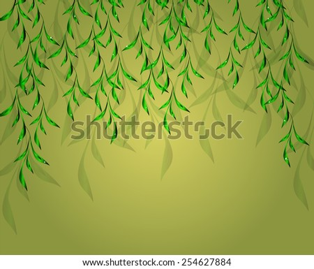 Yellow-green background with green leaves. EPS10 vector illustration. - stock vector
