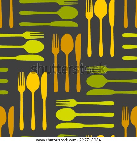 yellow, green cutlery on grey seamless pattern - stock vector