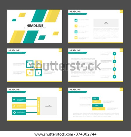 orange multipurpose presentation template flat design stock vector, Templates