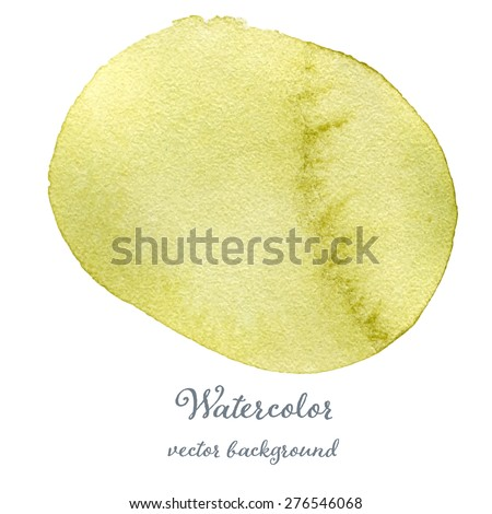 Yellow-green vector watercolor background hand drawn eps10 - stock vector