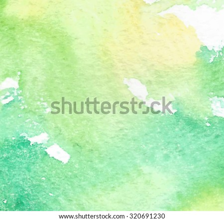 Yellow green white watercolor splash paper vector texture. Abstract colorful painted background. Hand drawn artistic illustration.  Wash design card for banner, wallpaper, decoration, print, template - stock vector