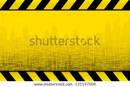 yellow grunge construction background with cityscape and skyscrapers - stock vector