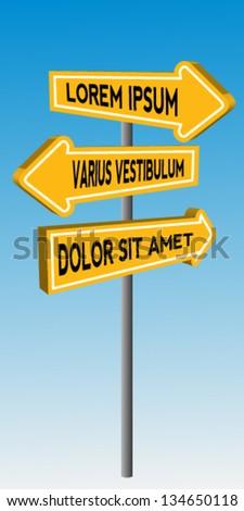 Yellow guidepost - stock vector