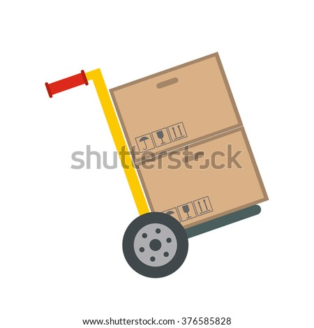 Yellow hand cart with cardboard boxes flat icon isolated on white background - stock vector