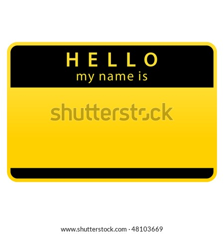 Yellow hazard warning name tag sticker on white background - stock vector