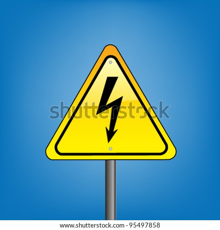 Yellow hazard warning sign on against blue sky  - Electric shock warning, vector version - stock vector