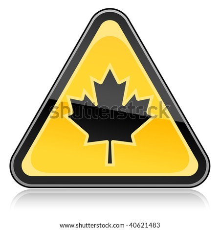 Yellow hazard warning sign with canadian maple leaf symbol on white background - stock vector