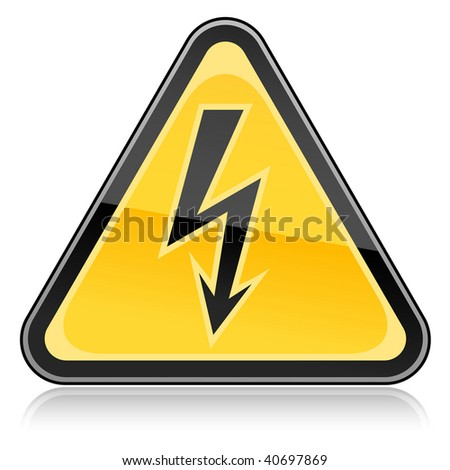 Yellow hazard warning sign with high voltage symbol on white background - stock vector