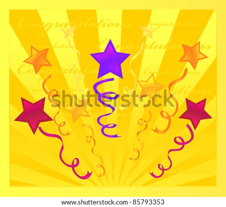 yellow holiday stars  background. Design vector - stock vector
