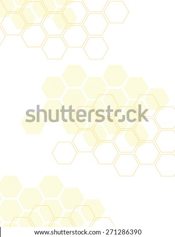 Yellow honey comb pattern over white background - stock vector