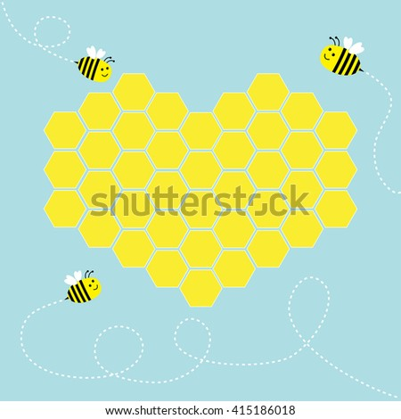 Yellow honeycomb set in shape of heart. Cute cartoon bee. Dash line in the sky. Beehive element. Honey icon. Love greeting card. Isolated. Blue background. Flat design. Vector illustration - stock vector