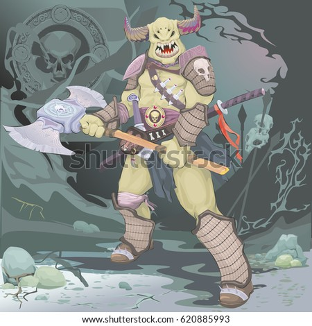 yellow horned monster warrior with a battle ax