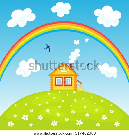 Yellow house on the hill and rainbow. Summer landscape. Vector illustrator. - stock vector