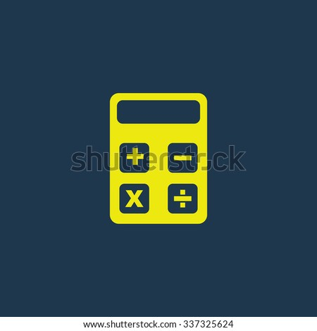 Yellow icon of Calculator on dark blue background. Eps.10 - stock vector