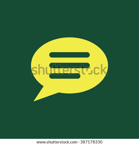 Yellow Icon of Comments or Speech bubble  Isolated on Dark Green Background. Eps--10. - stock vector