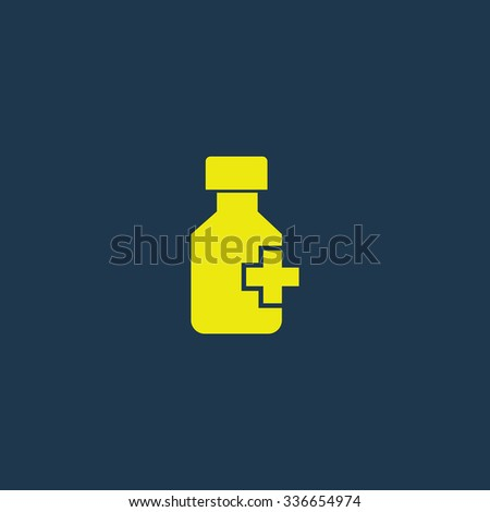 Yellow icon of Drug or Medicine Bottle on dark blue background. Eps.10 - stock vector