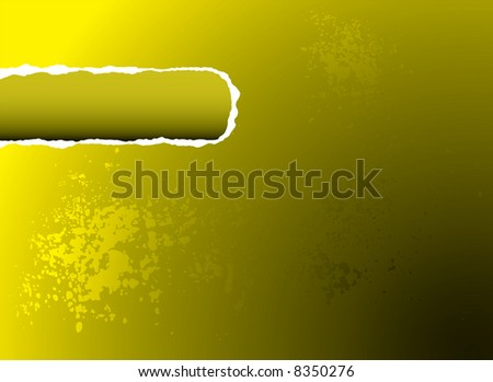 Yellow illustrated background with a rip out of the corner for your own text - stock vector