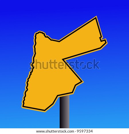 yellow Jordan map warning sign on blue illustration