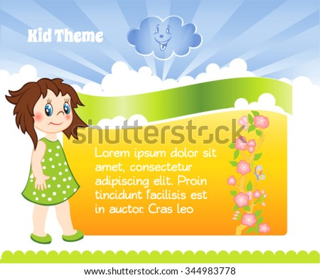 Yellow Kid template with cartoon girl - stock vector
