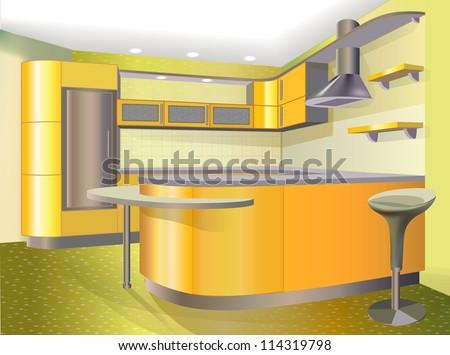 Yellow kitchen - stock vector