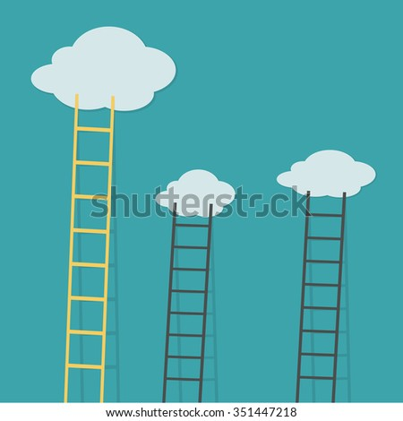 yellow ladder from cloud with small white ones. goal setting business concept background