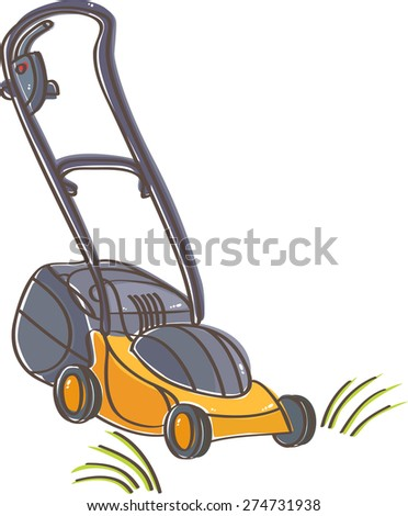 Yellow lawn mower for mowing grass