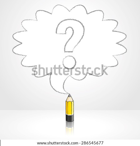 Yellow Lead Pencil with Reflection Drawing Question Mark in Rounded Starburst Speech Bubble Grey Background