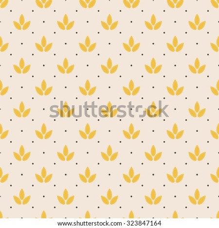 yellow leafs neat pattern - stock vector
