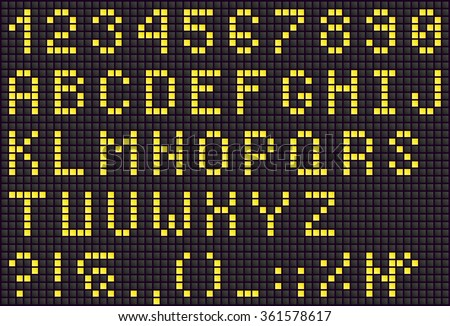 Yellow LED digital letters for text, display font