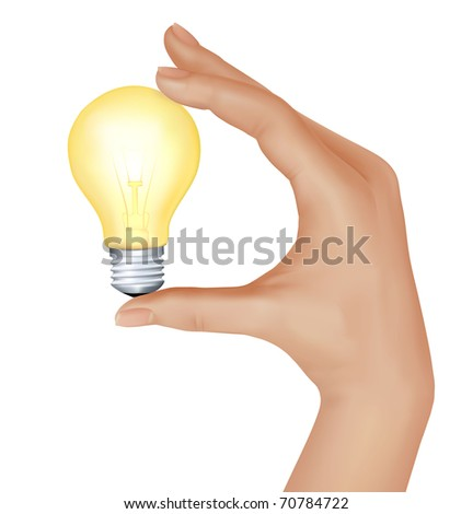 Yellow light bulb in hand. vector illustration