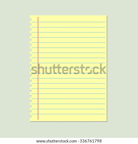 Yellow lined paper - stock vector