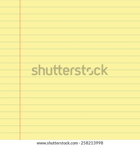 Yellow lined paper. Vector.