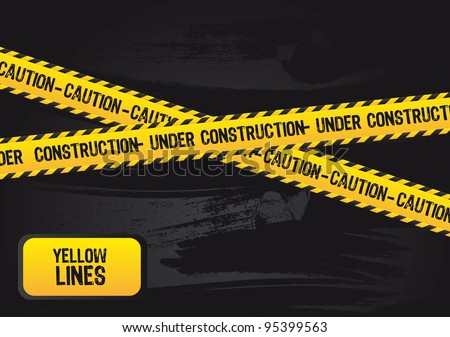yellow lines with under construction text, grunge. vector - stock vector