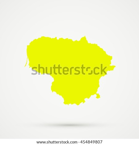 Yellow Lithuania Map Illustration