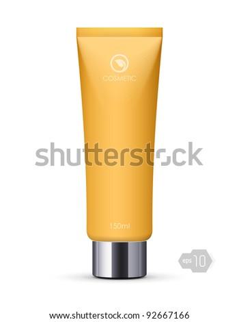 Yellow Long Clean Tube Of Cream: Vector Version - stock vector