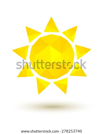 Yellow low poly sun as summer symbol - stock vector