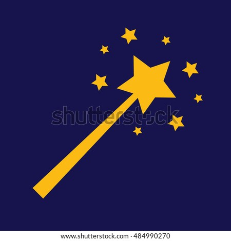 Yellow magic wand icon vector illustration. Blue background