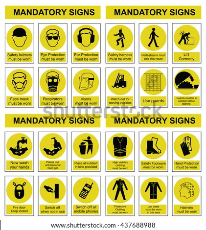 Yellow mandatory construction engineering and manufacturing health and safety sign set isolated on white background