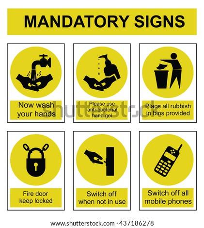 Yellow mandatory safety sign set isolated on white background - stock vector