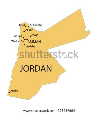 Jordan Country Map Stock Vector Shutterstock - Map of jordan
