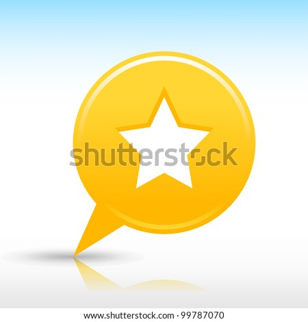 Yellow map pin with star sign. Satin round web internet button icon with drop gray shadow and colored reflection on white background. Vector saved in 10 eps. See more design elements in my gallery - stock vector