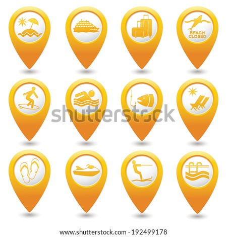 Yellow map pointers with travel icons. Part 2. Vector illustration. - stock vector