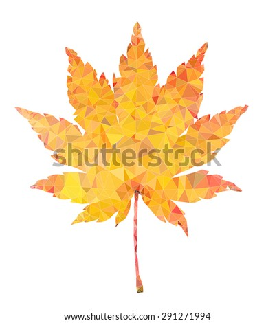 Yellow maple leaf vector polygon illustration isolated - stock vector
