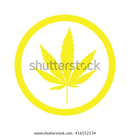 Yellow marijuana leaf in circle icon vector illustration - stock vector