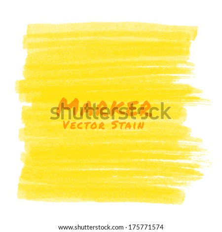 Yellow Marker Stain, vector illustration  - stock vector