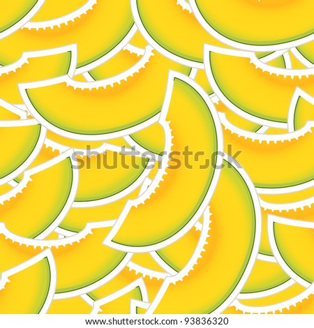 Yellow melon seamless background - stock vector