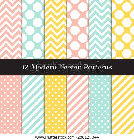 Yellow, Mint, Coral and White Polka Dots, Chevron and Candy Stripes Patterns. Modern Geometric Backgrounds. Vector EPS File Pattern Swatches made with Global Colors. - stock vector