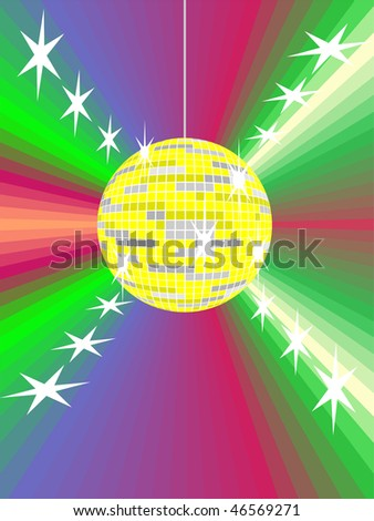 yellow mirror ball with abstract background