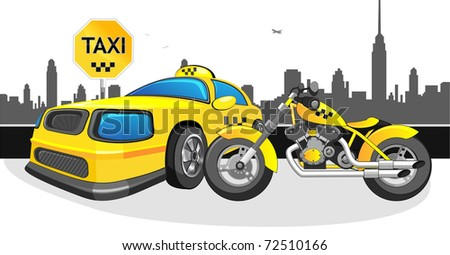 yellow motorcycle and car taxi, taxi sign and landscape of the city. - stock vector
