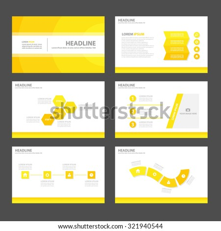 Yellow Multipurpose Infographic elements and icon presentation template flat design set for advertising marketing brochure flyer leaflet - stock vector